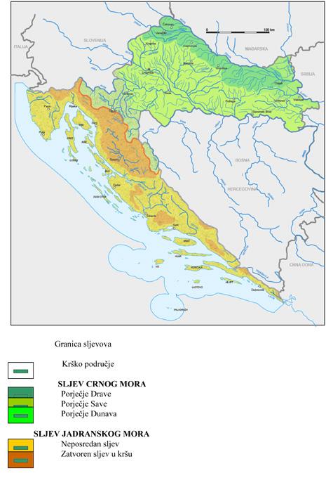 Hidrografska Karta Hrvatske Karta
