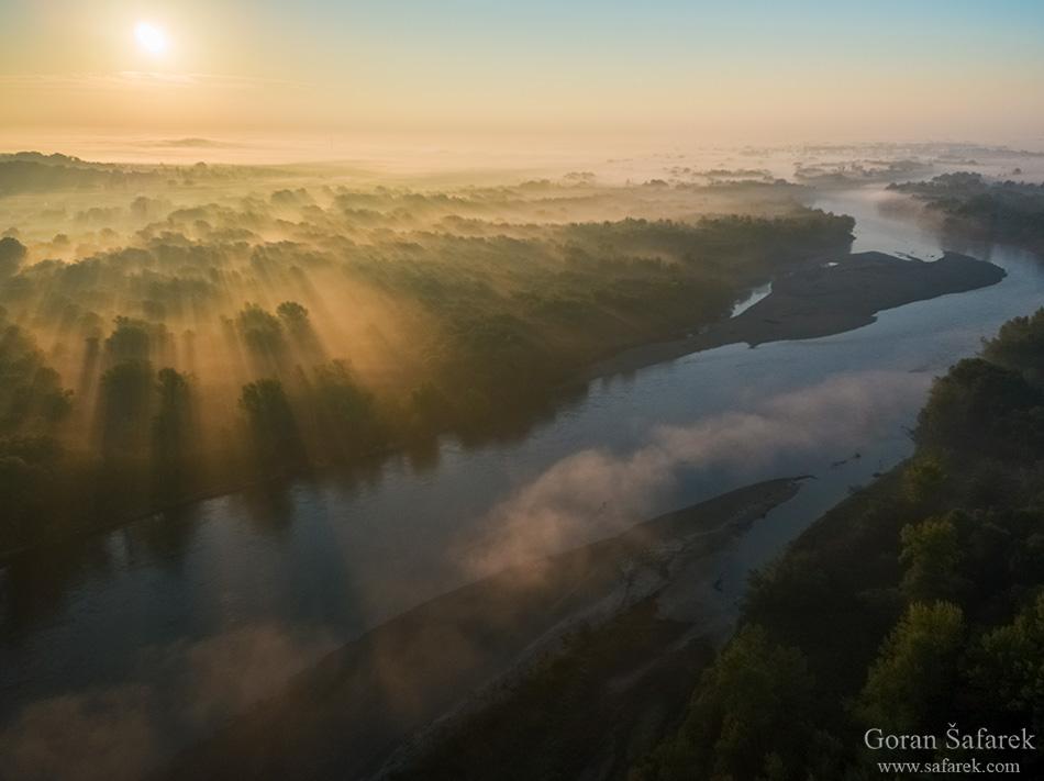 drava, izlazak, fotografija prirode, zračna fotografija, priroda, magla